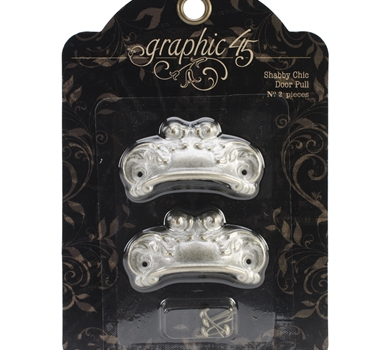 >Staples Ornate Metal Door Pulls 2/Pkg Shabby Chic w/4 Brads