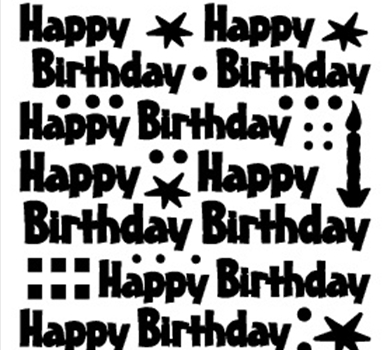 >Peel-Off Stickers Happy Birthday Mix Silver