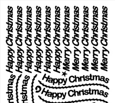 >Peel-Off Stickers Happy Christmas / Merry Christmas Silver